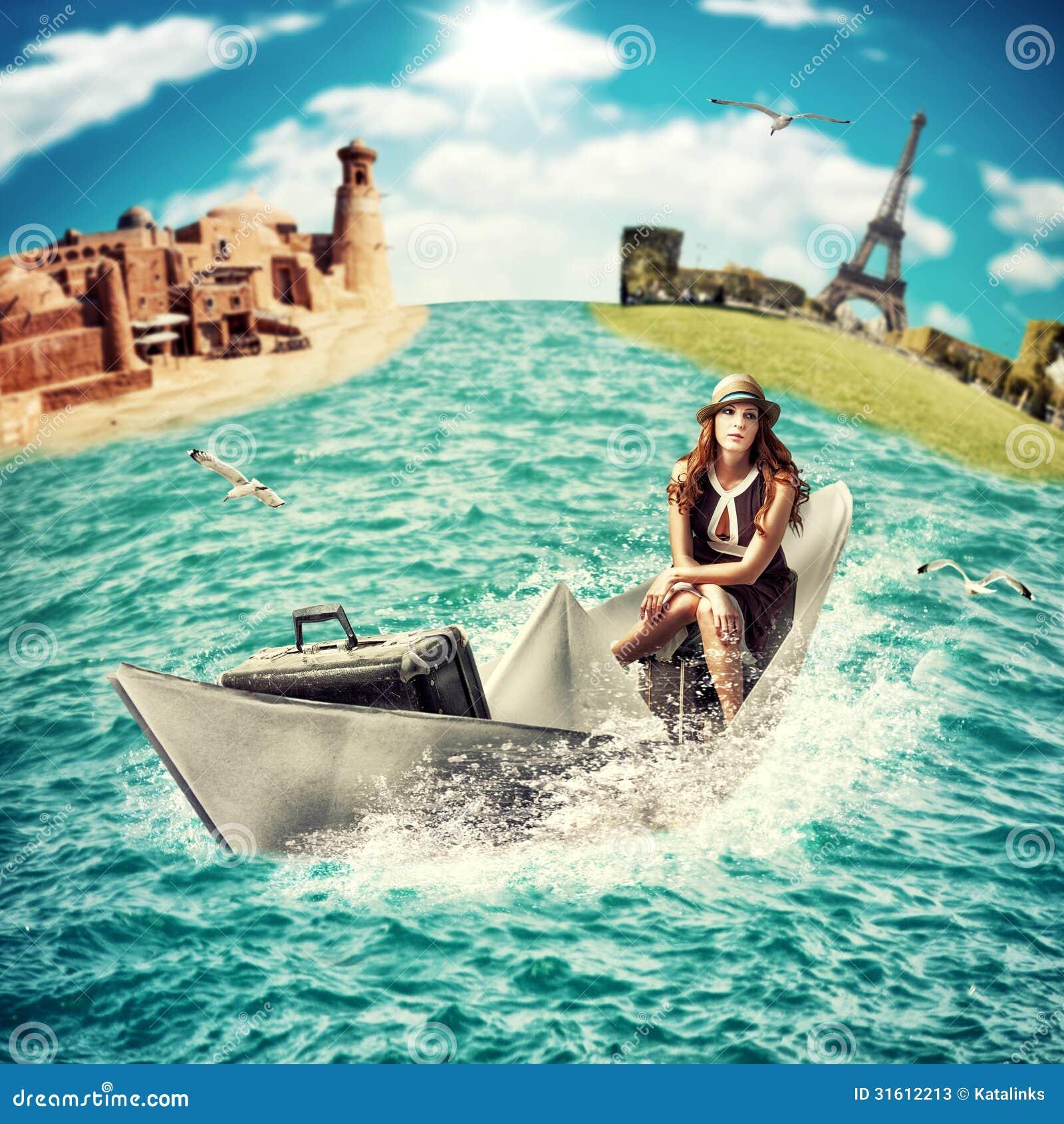 Viaje mujer con equipaje en el barco fotos de archivo - Todo sobre barcos ...