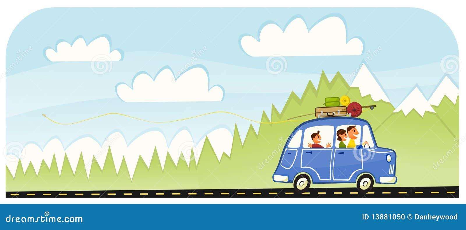 Vector Feliz Viaje Familia: Viaje Por Carretera De La Familia De Las Vacaciones De