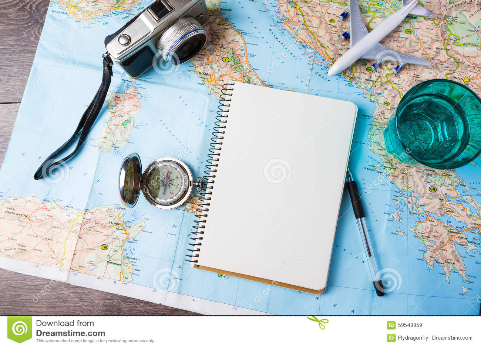Viaje, vacaciones del viaje, herramientas de la maqueta del turismo