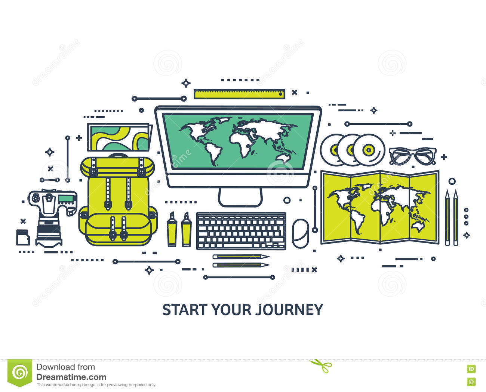 Viaje y turismo Estilo plano Mundo, mapa de la tierra Globo Viaje, viaje, viaje, vacaciones de verano El viajar, explorando