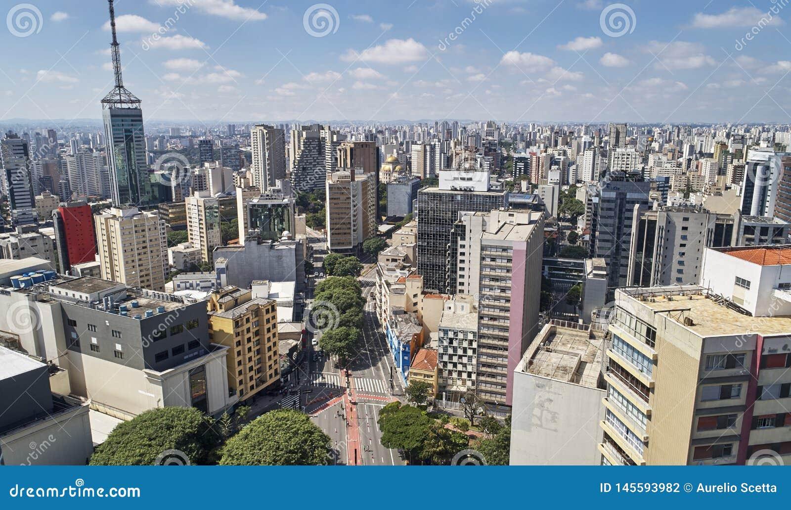 Viale di Avenida Paulista Paulista, citt? di Sao Paulo, Brasile