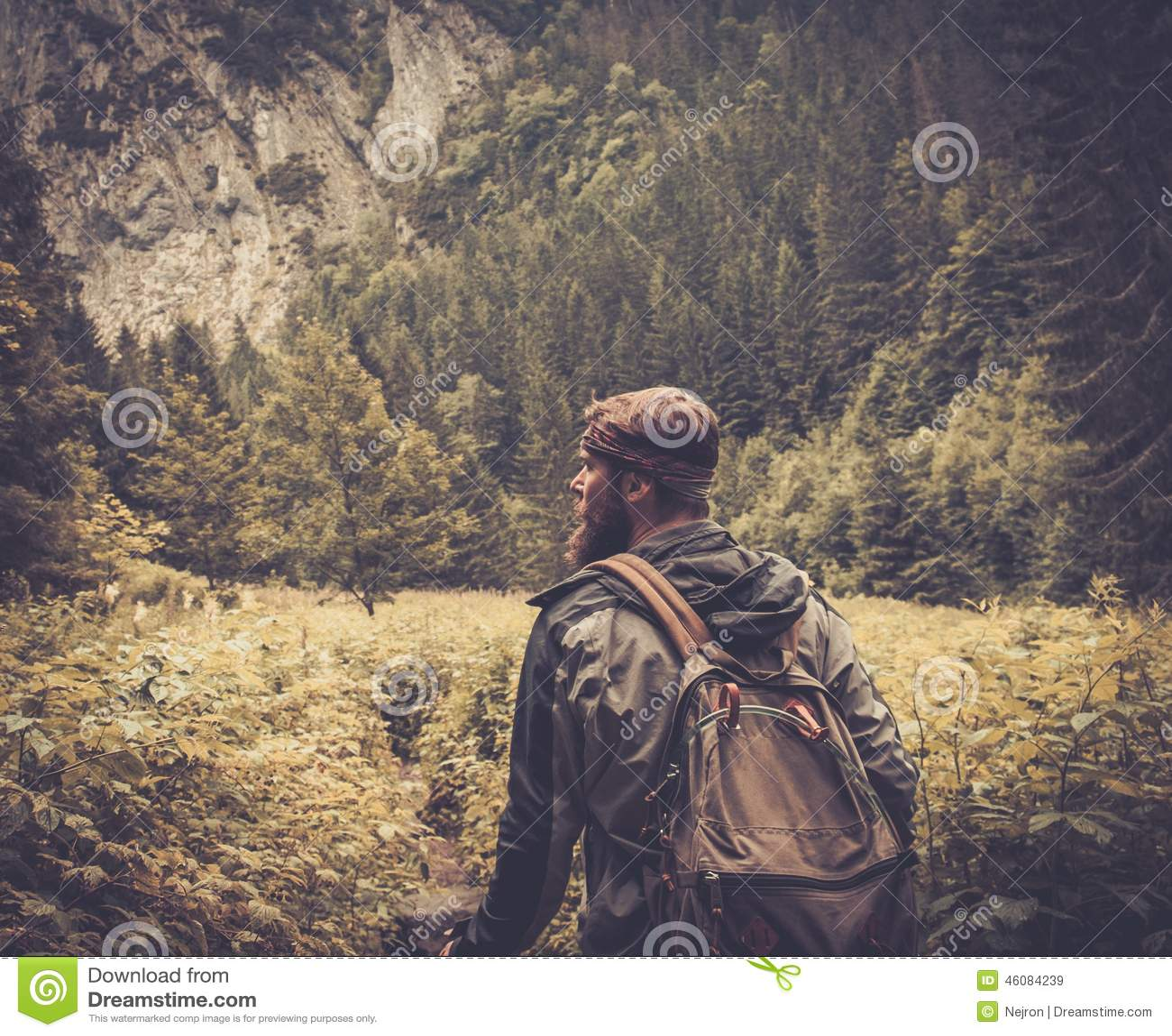 Viandante dell 39 uomo che cammina nella foresta della for Planimetrie della caverna dell uomo