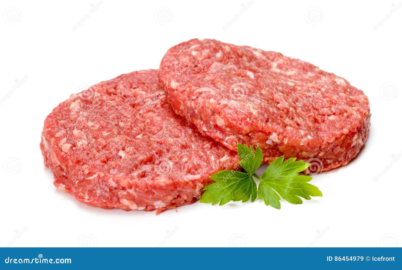 Viande crue d hamburger sur le blanc