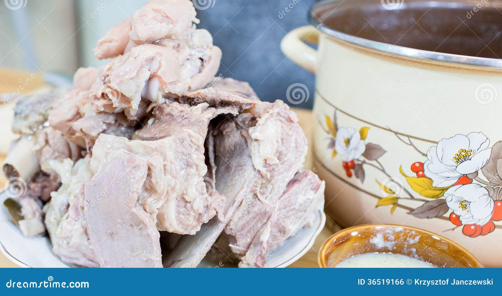 Viande froide de gelée.