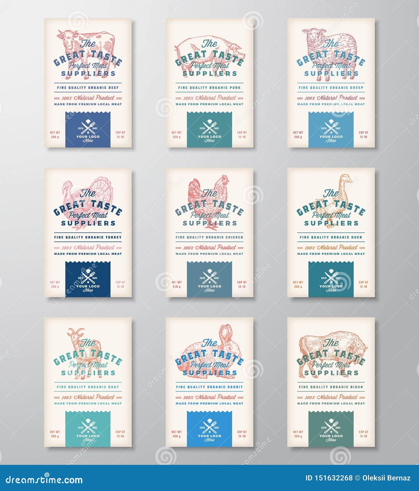 Viande parfaite et volaille de grand goût Collection abstraite de bannières ou de labels de conception d emballage de viande de v