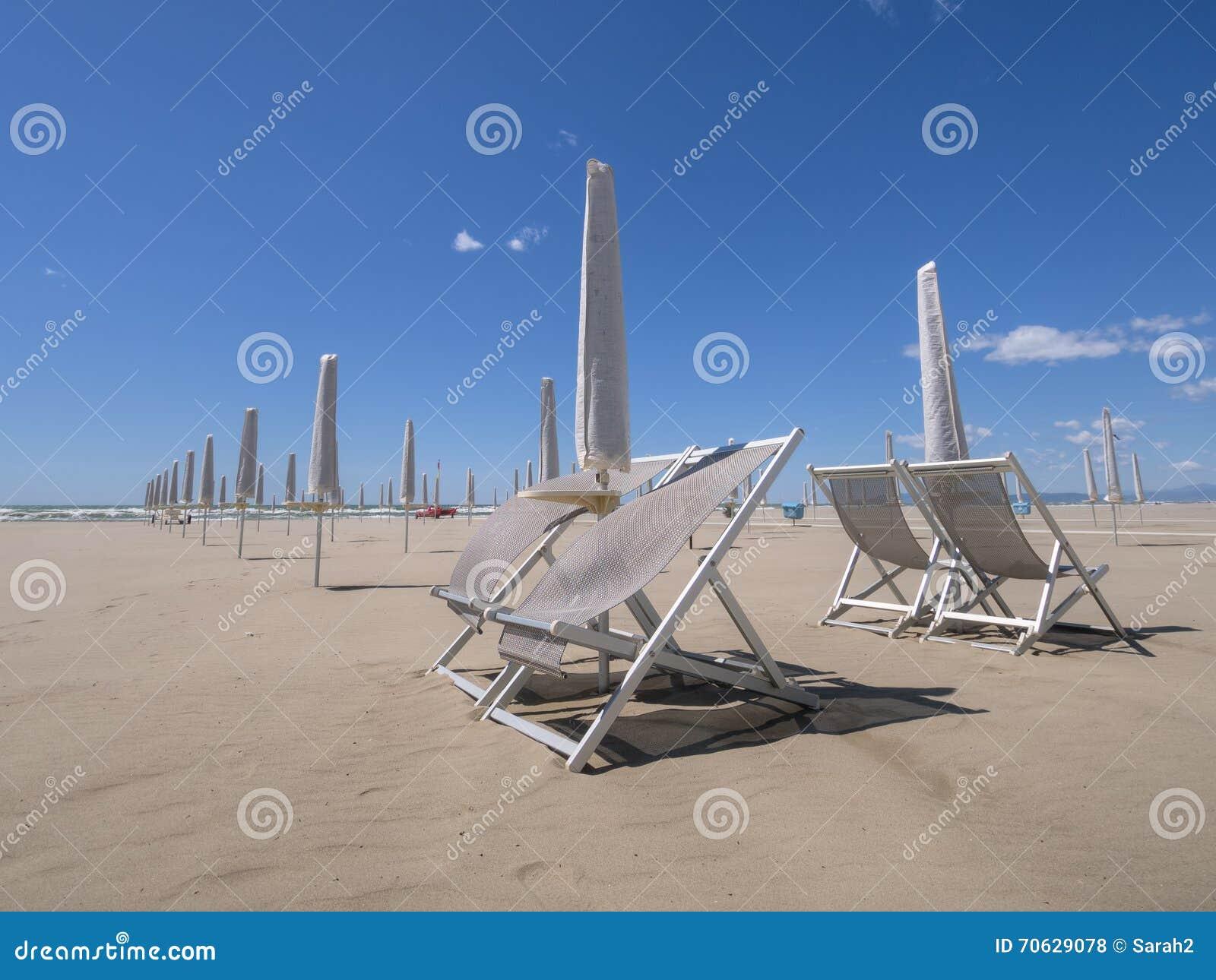 Viareggio beach, out of season. Looking out to sea.
