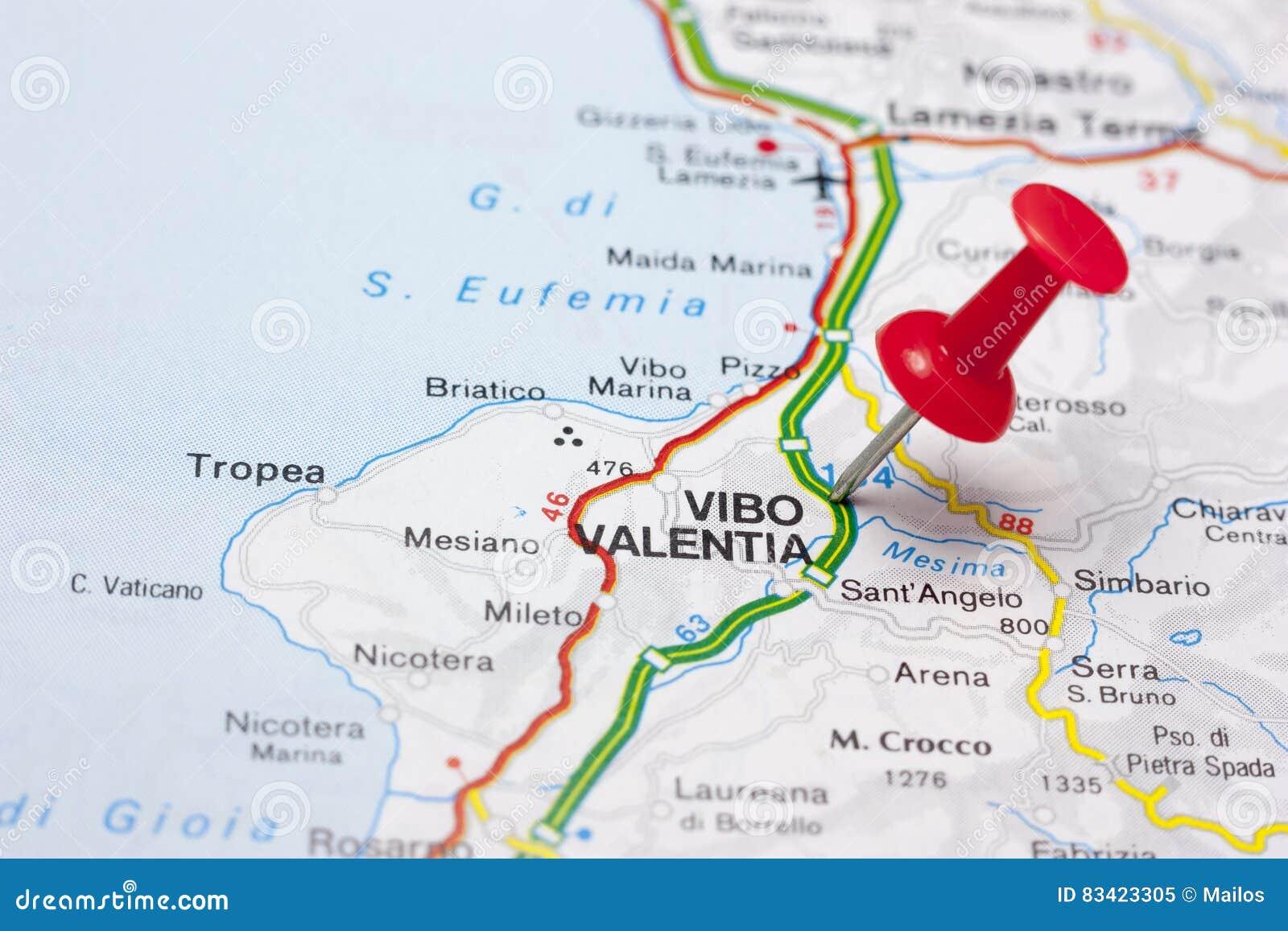 Vibo Valentia Italy On A Map Stock Illustration Illustration Of