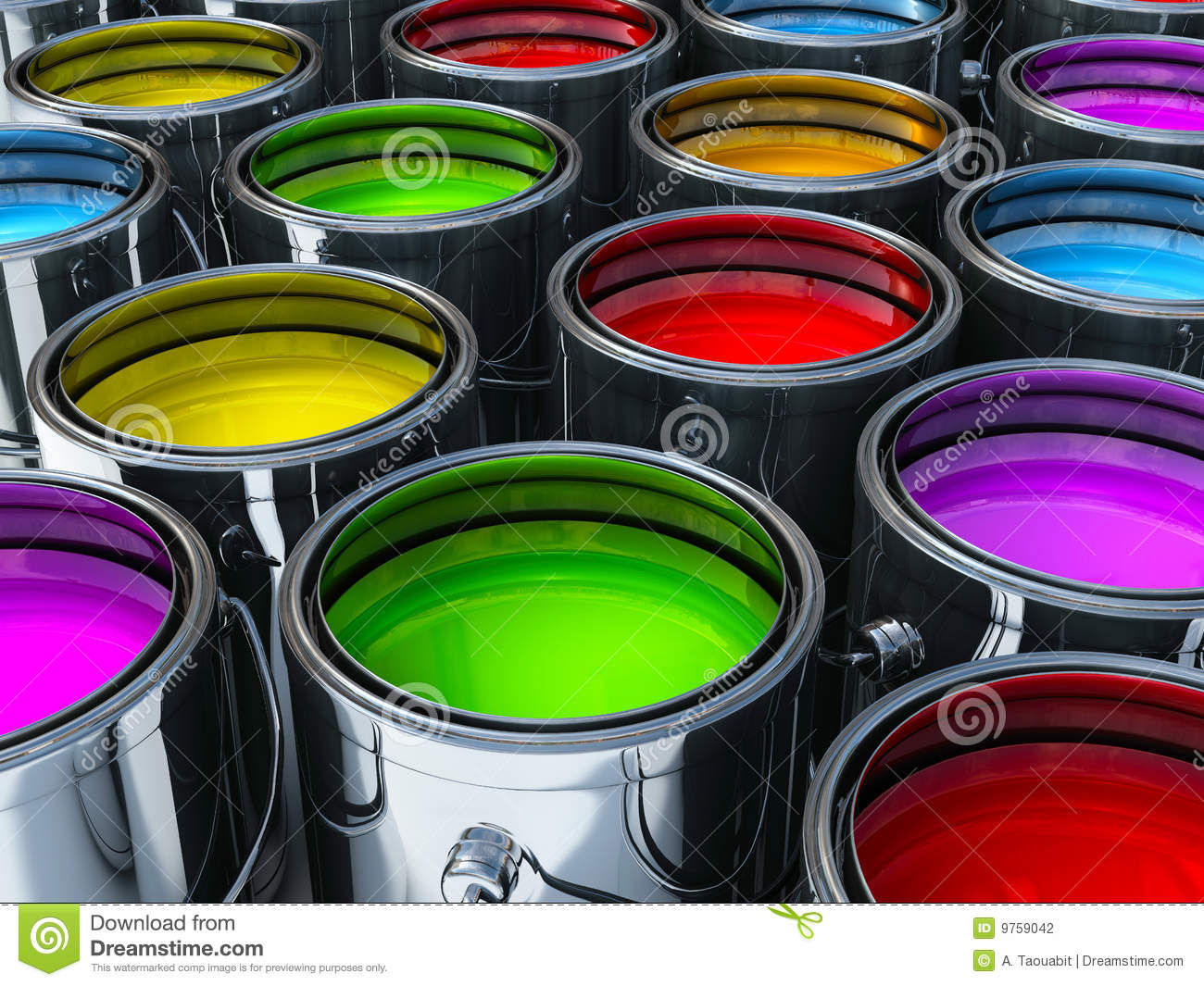 Vibrant Colors Paint Cans Stock Photography - Image: 9759042