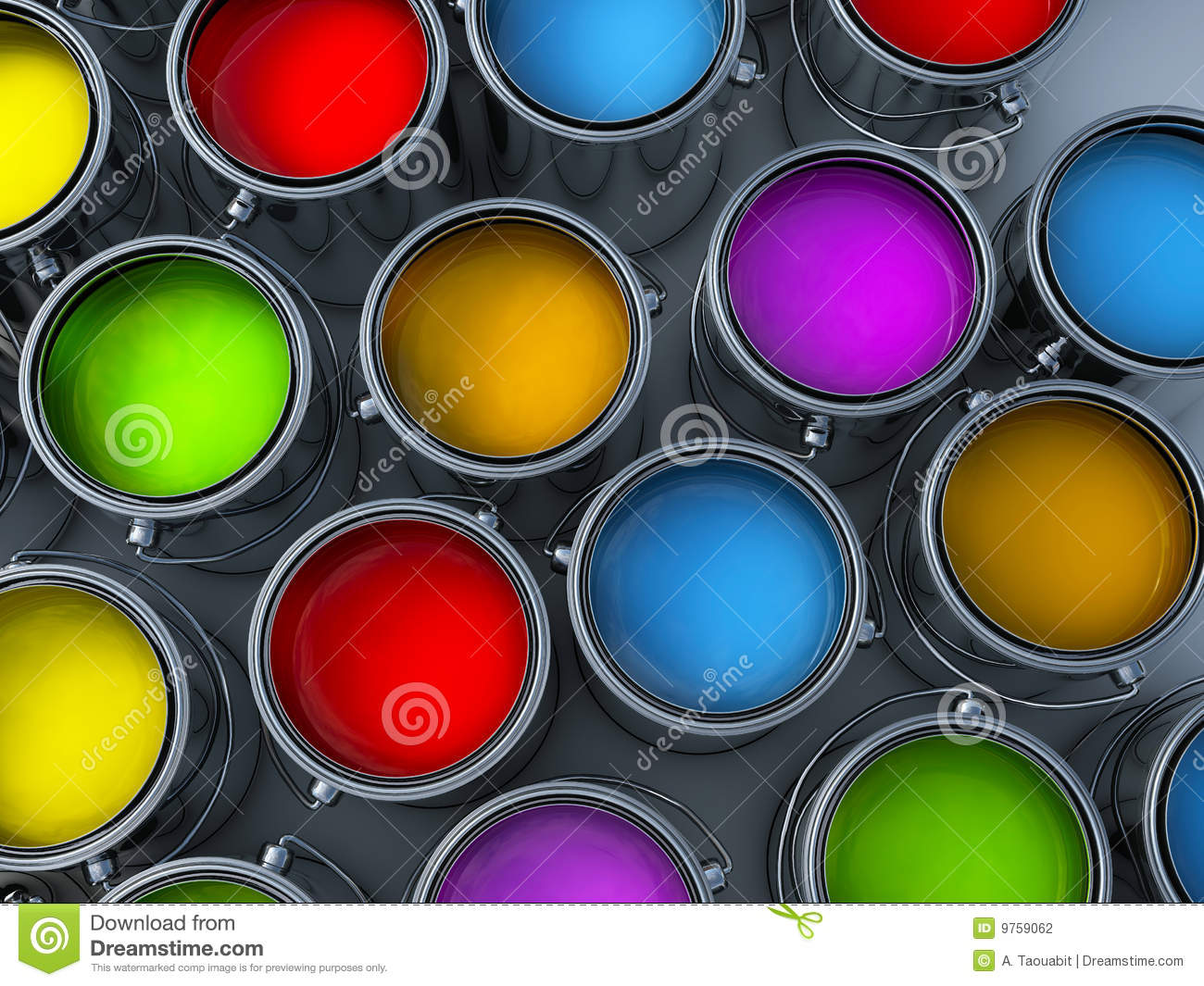 Vibrant Colors Paint Cans Stock Photography - Image: 9759062