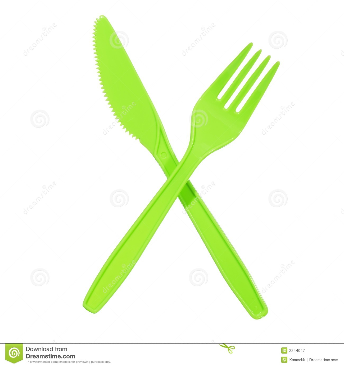 Vibrant Green Fork And Knife Royalty Free Stock