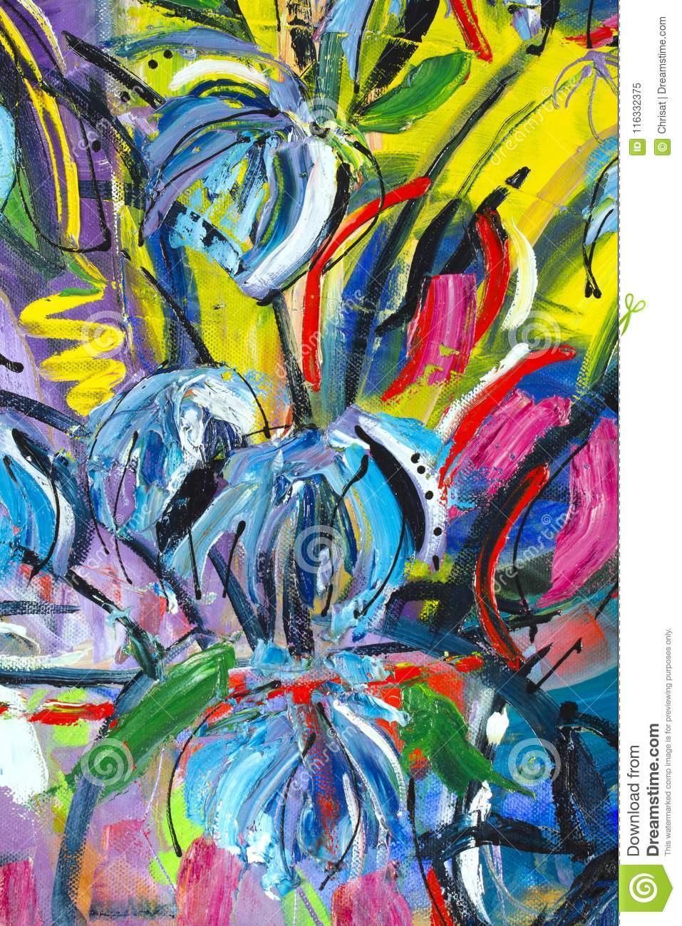 Painting detail stock image  Image of creativity, flowers - 116332375