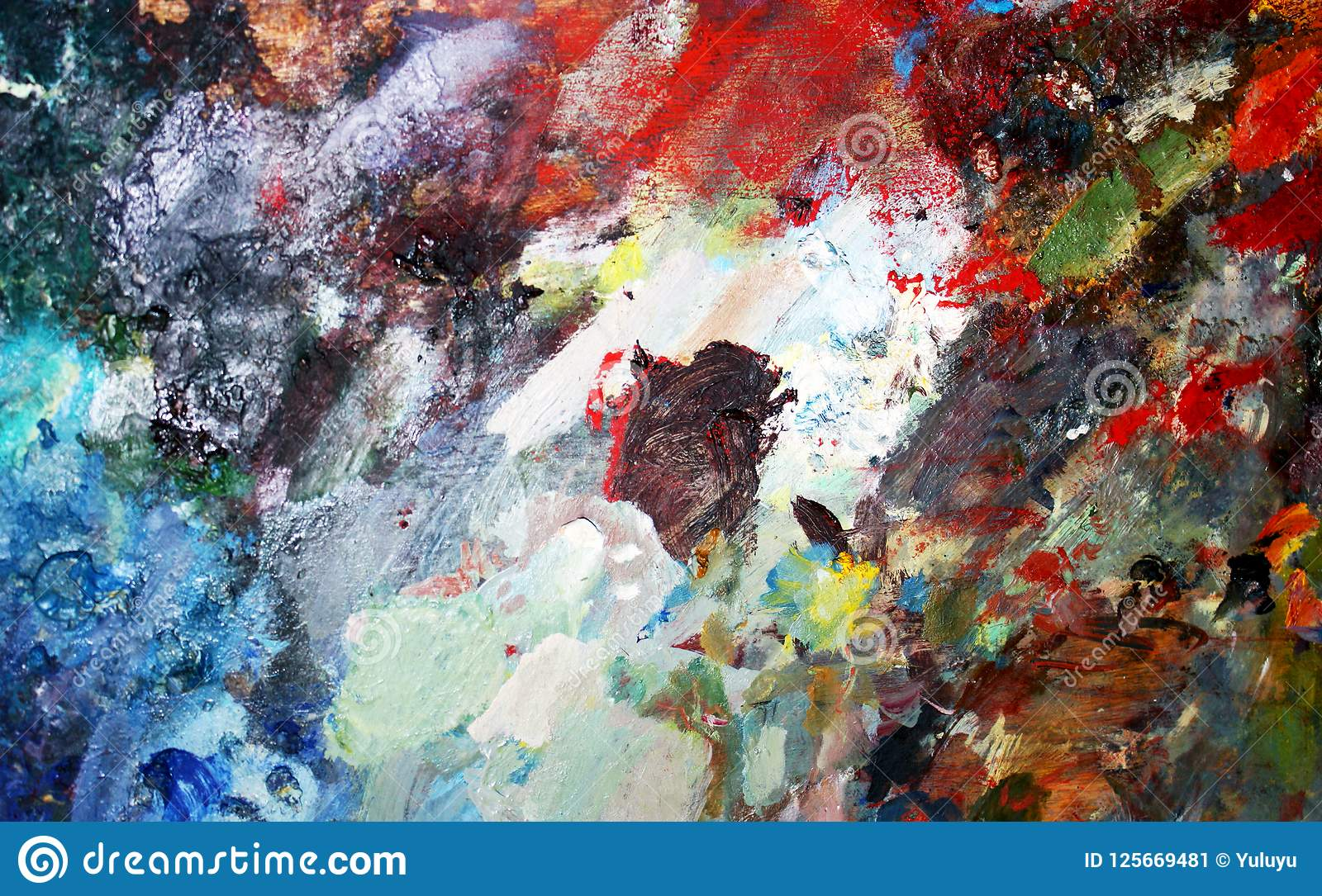 Vibrant Oil Or Acrylic Paint On Used Artist`s Palette For ...