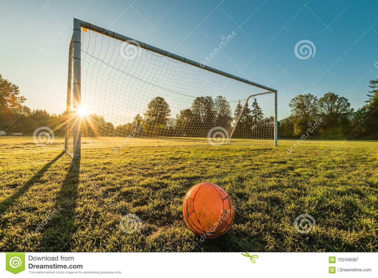 Vibrant Soccer Ball Off Centered In Front Of Soccer Goal