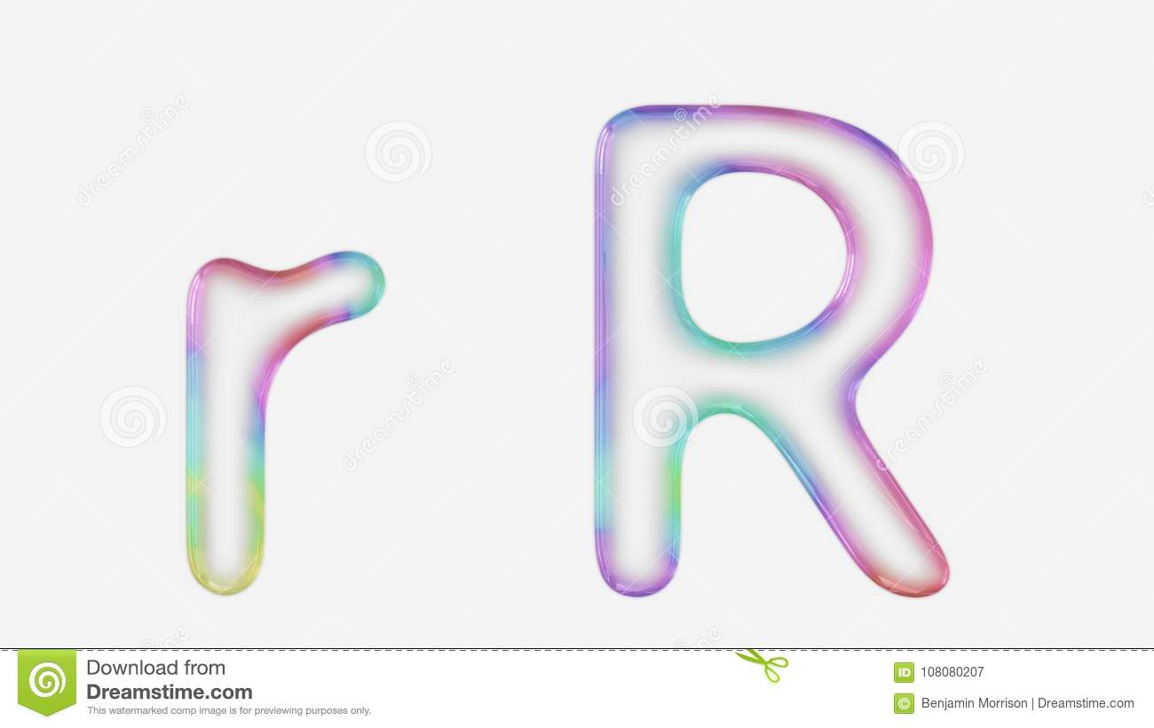 Vibrantly Colorful Upper And Lower Case R Rendered Using A Bubble