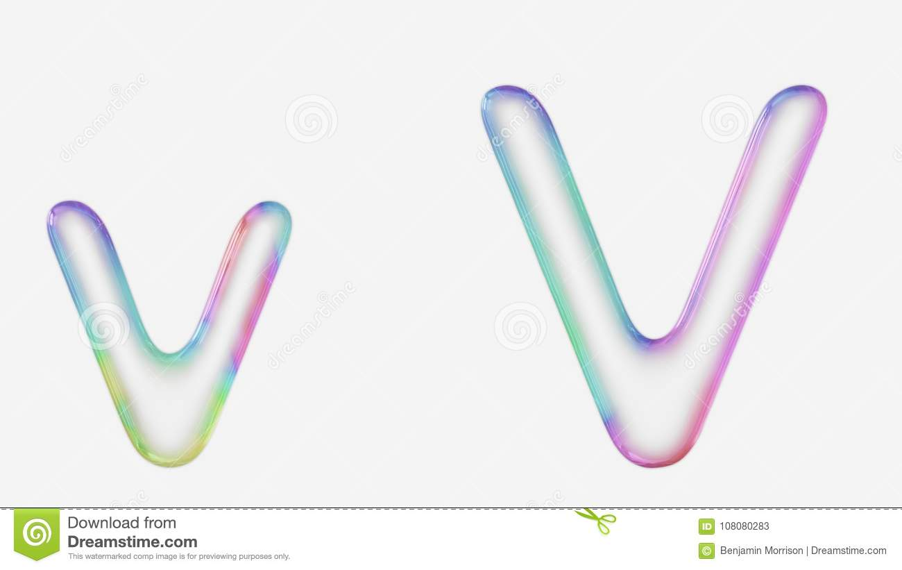 vibrantly colorful upper and lower case v rendered using a bubble