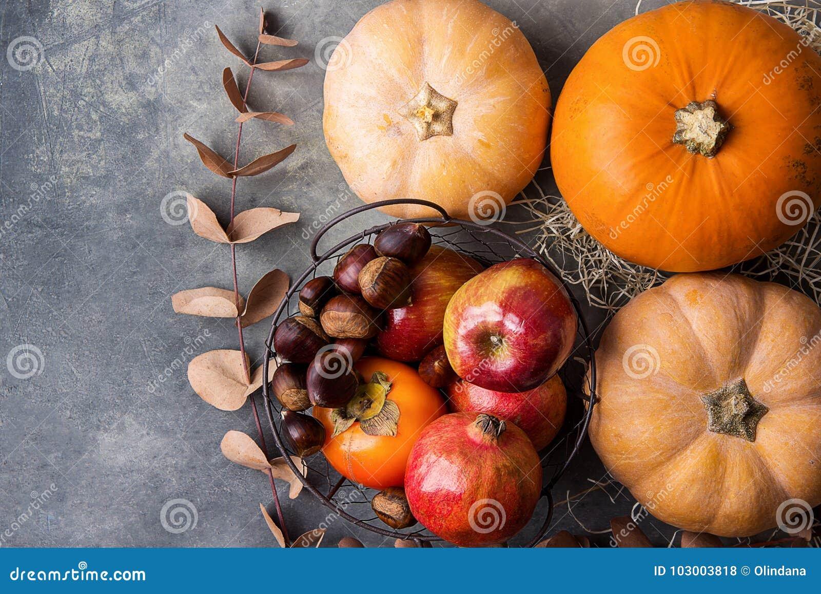 Vibrierender orange Farbkürbis-trocknen reife organische rote glatte Apfel-Granatapfel-Kastanien-Persimonen Herbst auf Grey Stone