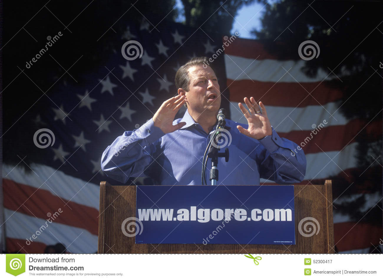 Vice President Al Gore campaigns for the Democratic presidential nomination at Lakewood Park in Sunnyvale, California