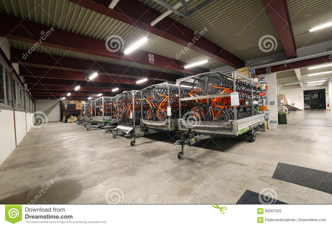 vicenza vi italy january 1st 2017 huge warehouse with the rh dreamstime com Motorcycle Tow Truck American Tow Truck