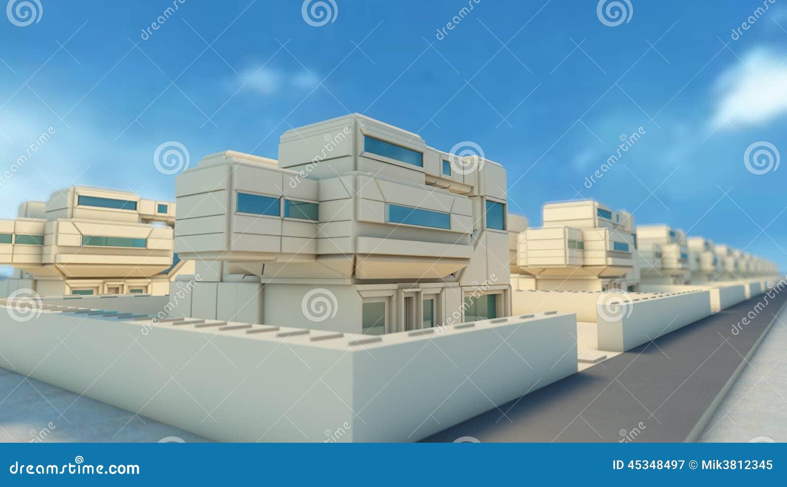 Vicinanza e case futuristiche illustrazione di stock for Case futuristiche
