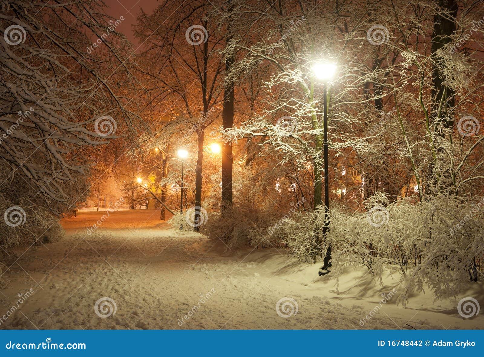Vicolo di inverno alla notte