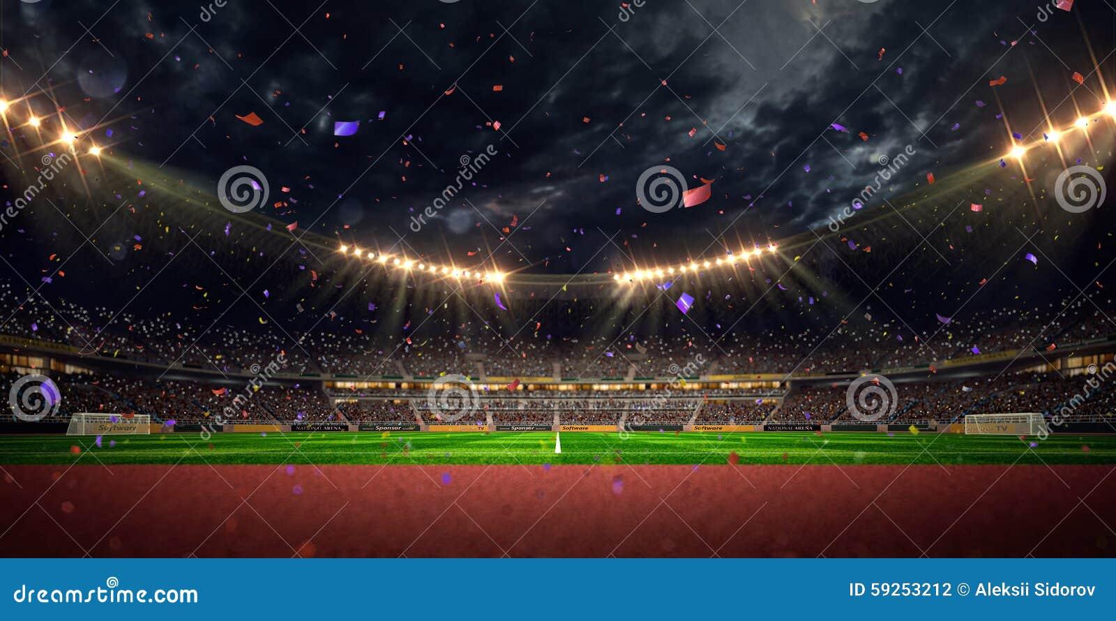 Victoire de championnat de terrain de football d arène de stade de nuit