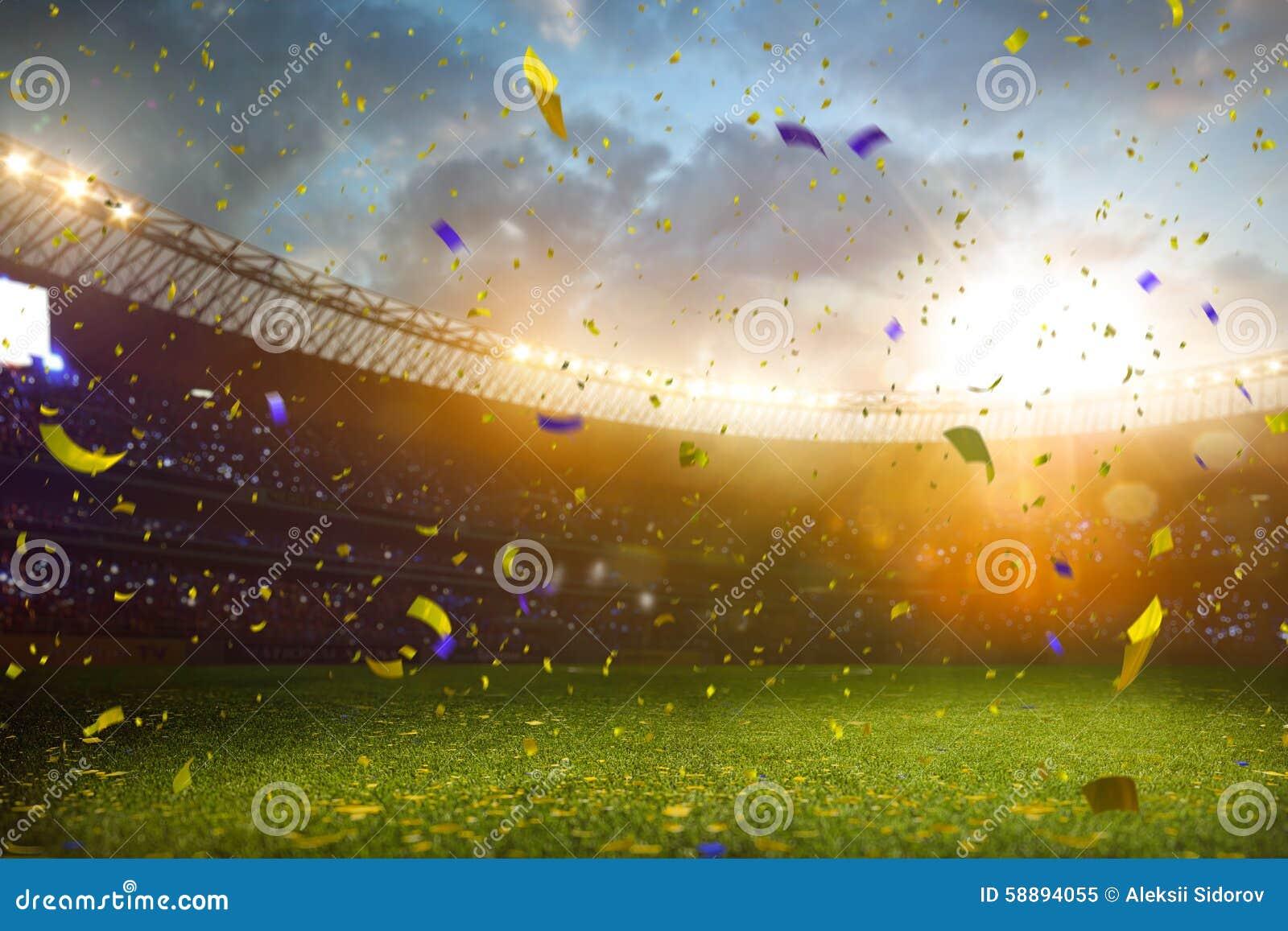 Victoire de championnat de terrain de football d arène de stade de soirée