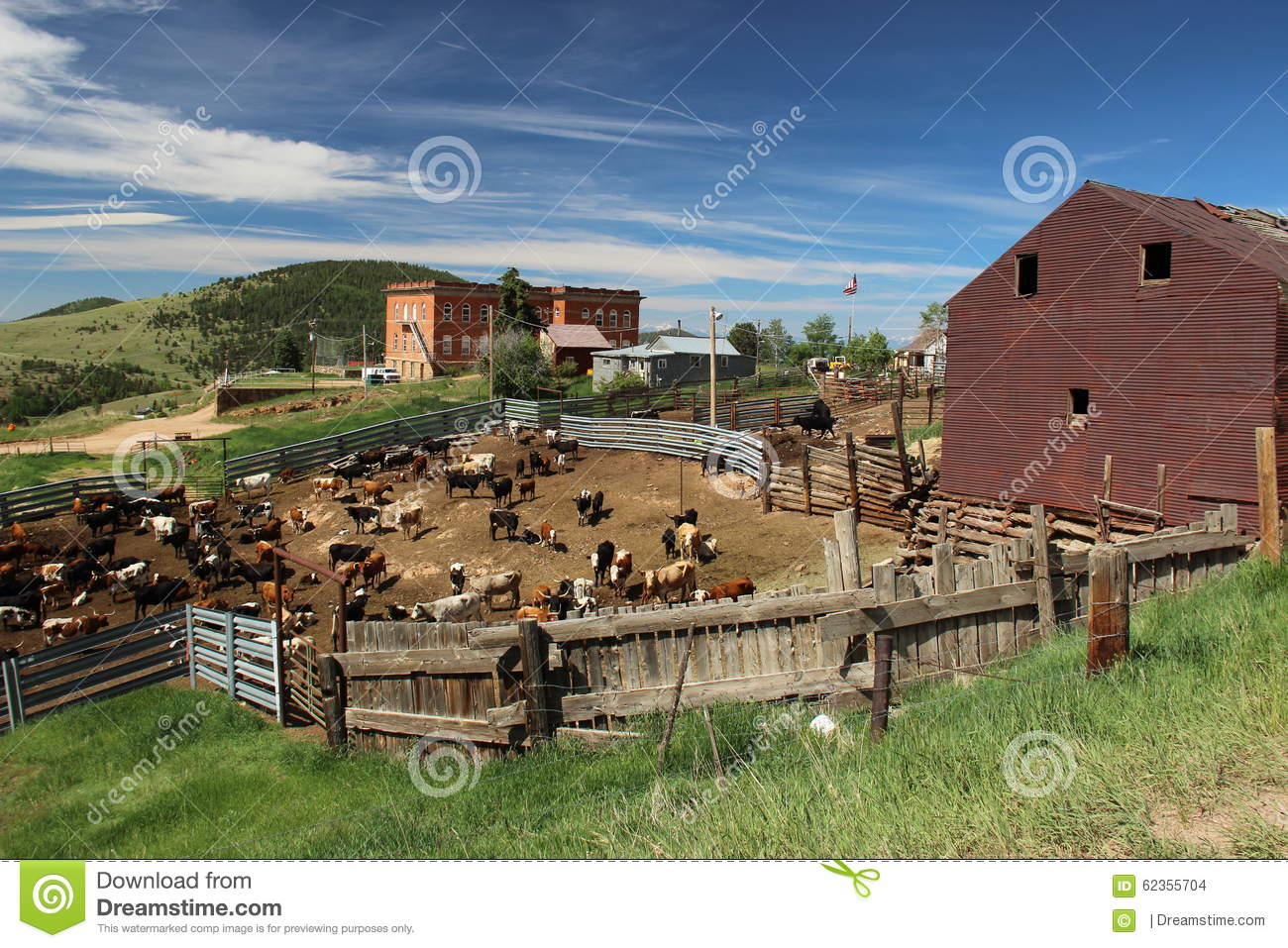 Victor Colorado Cattle Yards Stock Photo - Image: 62355704