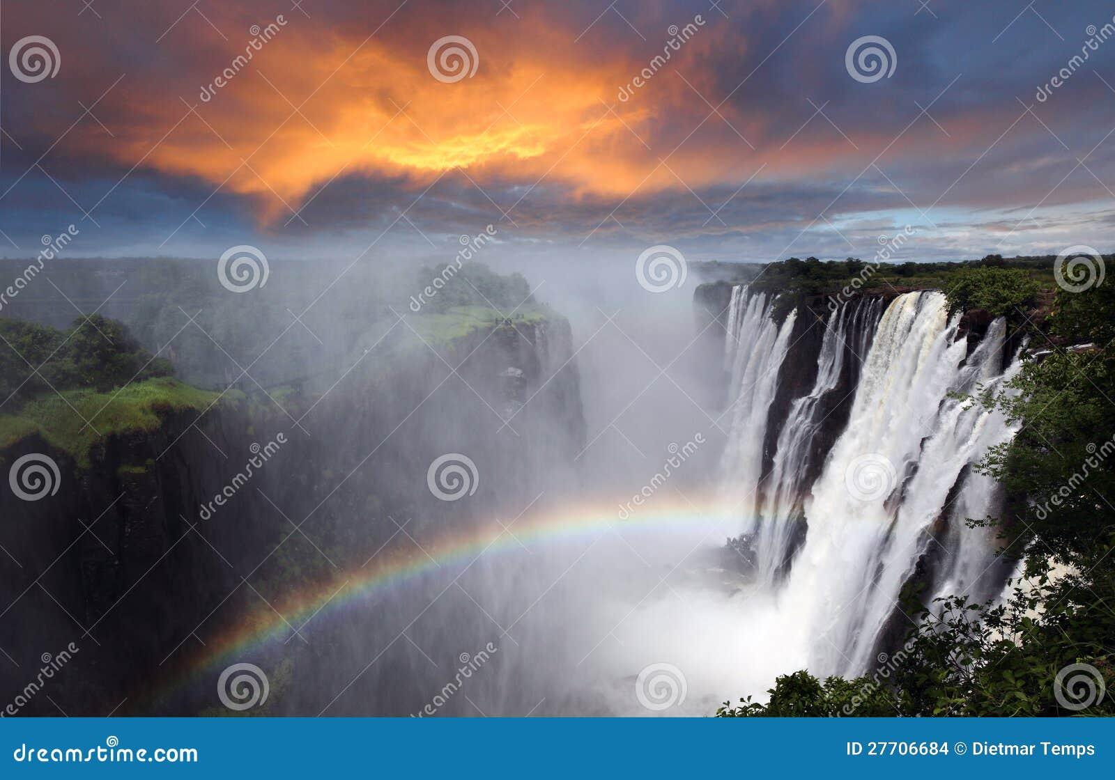 Victoria Falls, arc-en-ciel, Zambie