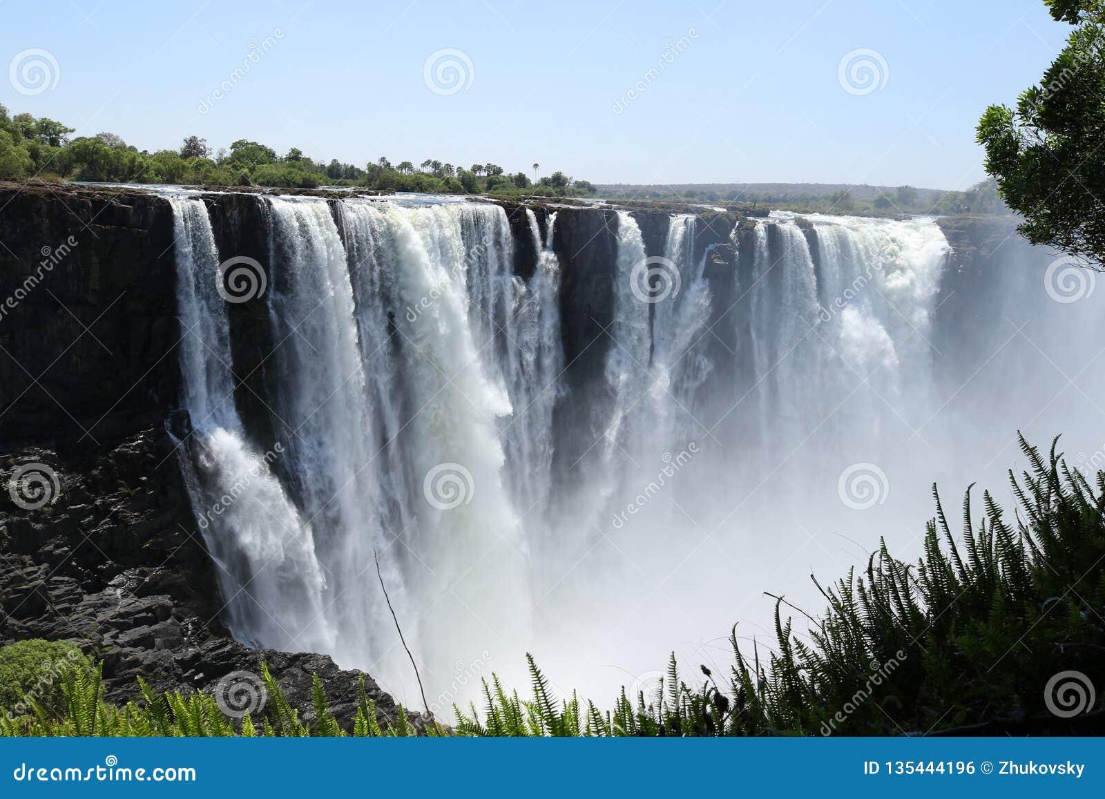 Victoria Falls jordsikt från den Zimbabwe sidan