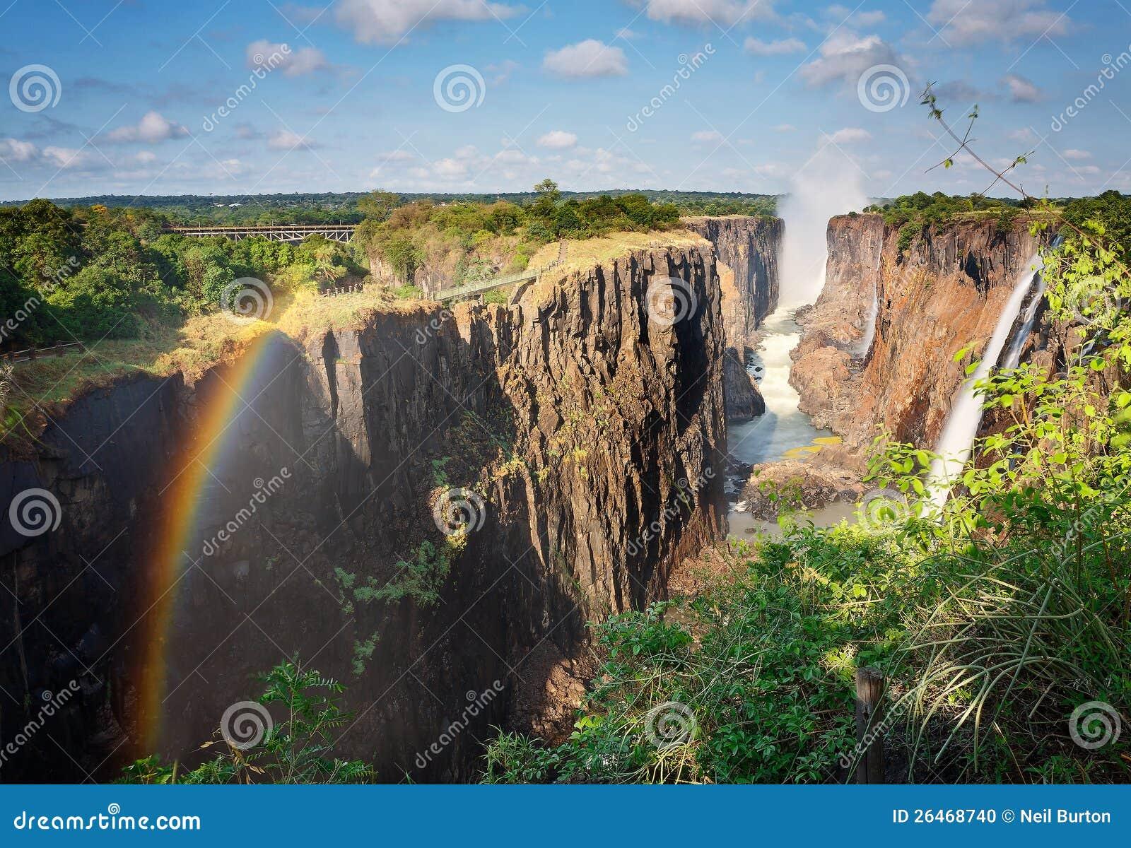 Victoria Falls, Zambia, y arco iris