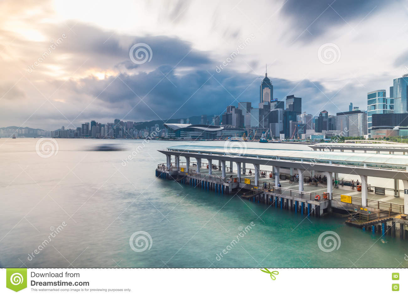 Victoria harbour view from Tsim Sha Tsui with pier, Hong Kong, China, Asia