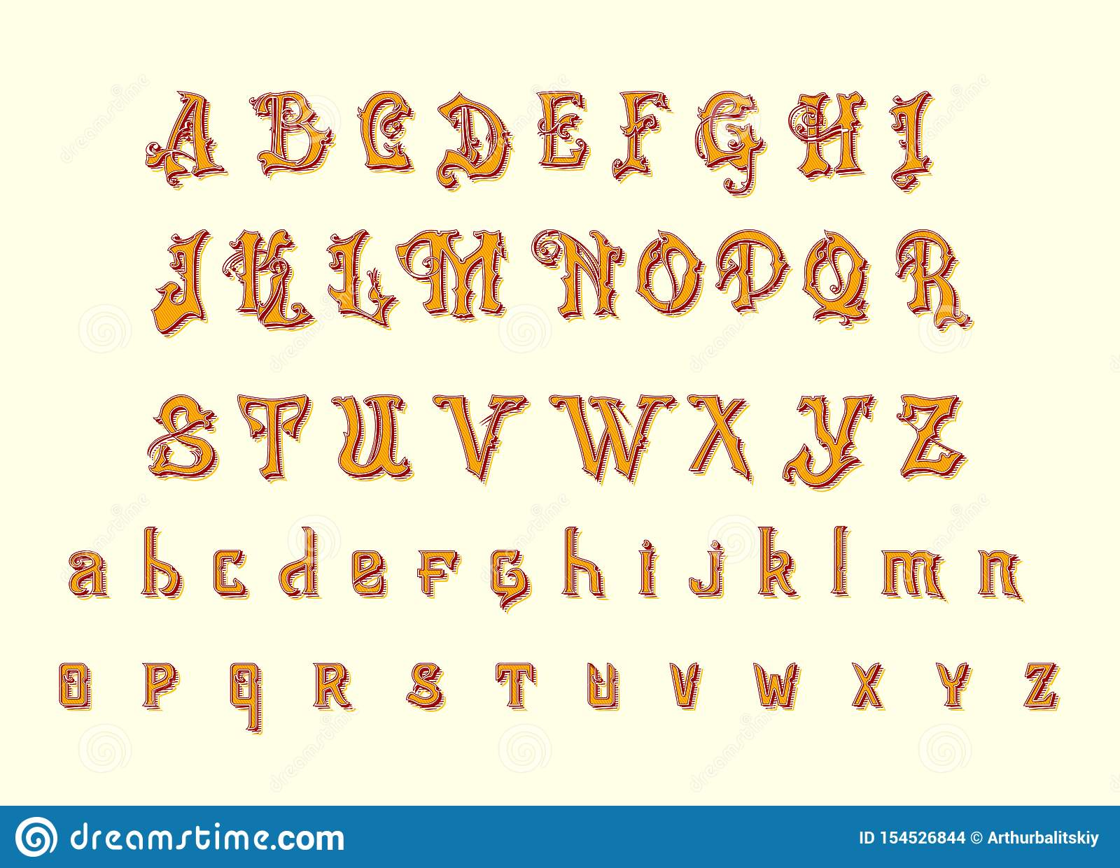 Victorian Alphabet In Ancient Style  Antique Old Font For