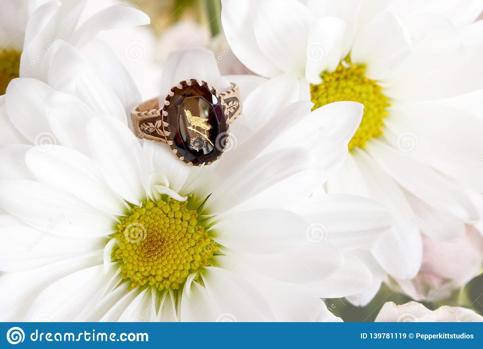Victorian Amethyst Rose Gold Ring with Etched Bird on Daisy Mums