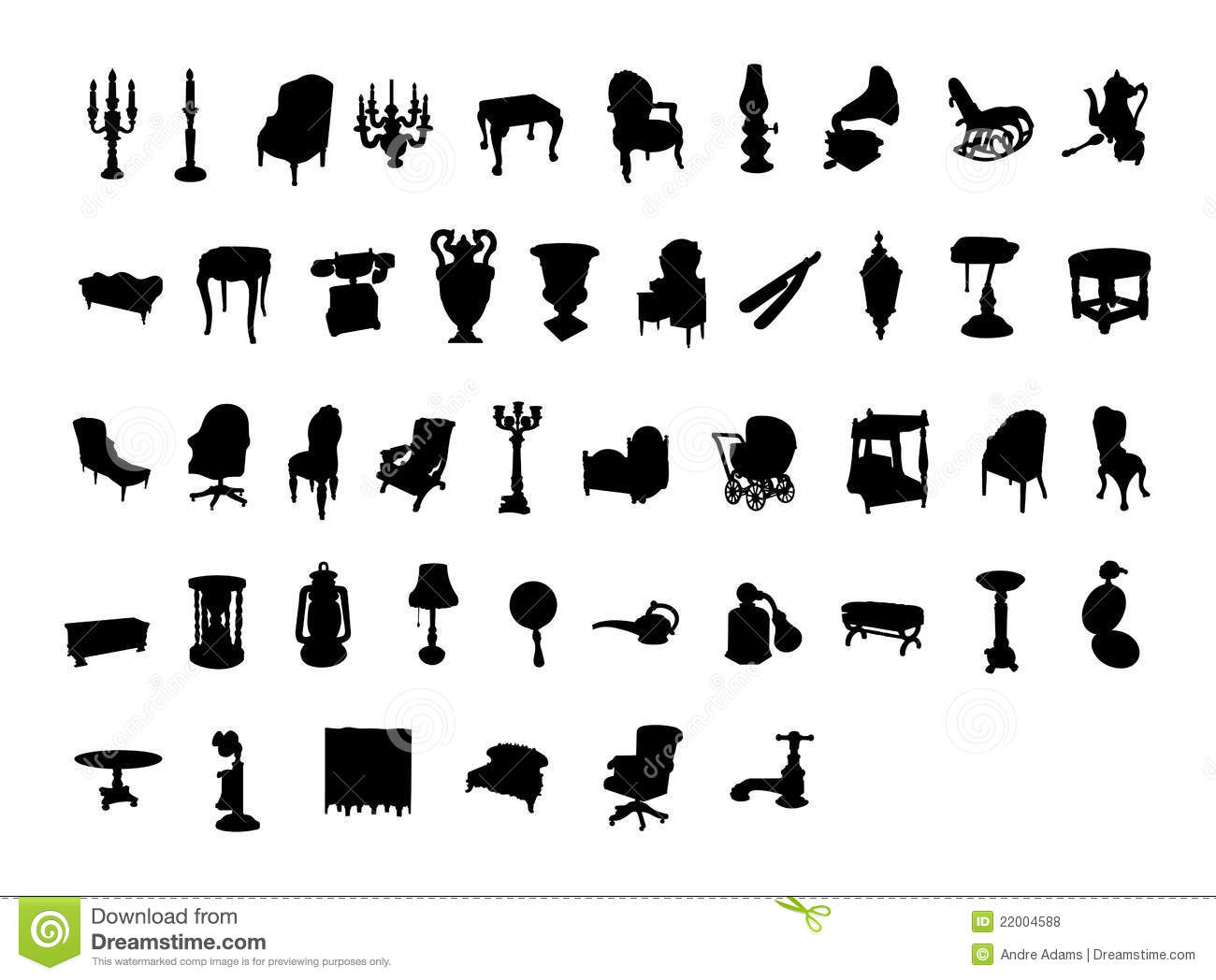 Victorian Antique Silhouette Items Royalty Free Stock Photos Image 22004588