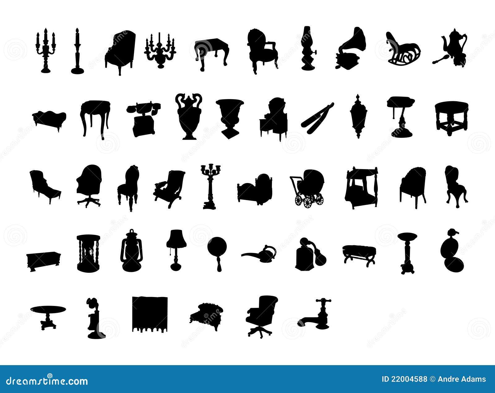 Antique chair silhouette - Victorian Antique Silh