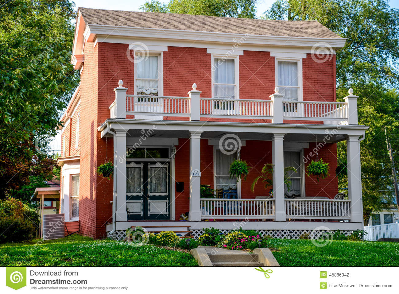 Victorian brick bed and breakfast home royalty free stock for Bed and breakfast home