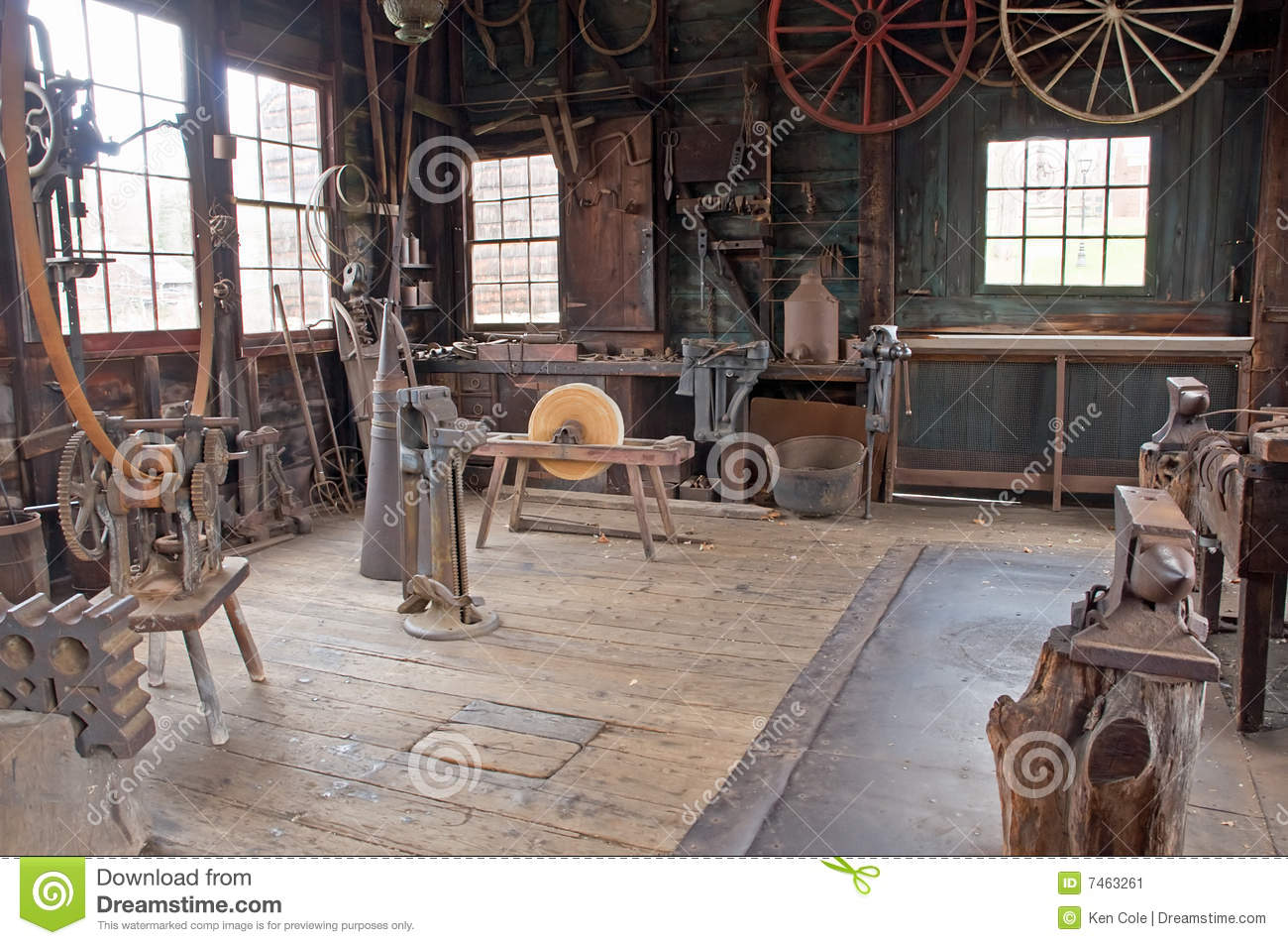 Victorian Carriage Wheel Shop Stock Image Image 7463261