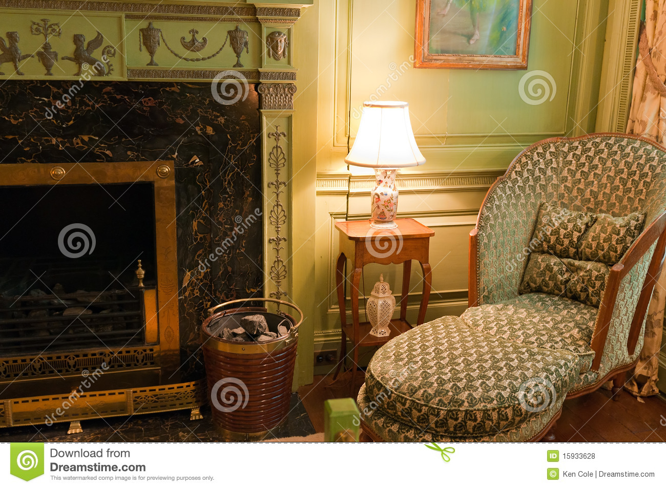 Victorian Chair Near Fireplace Royalty Free Stock Photos