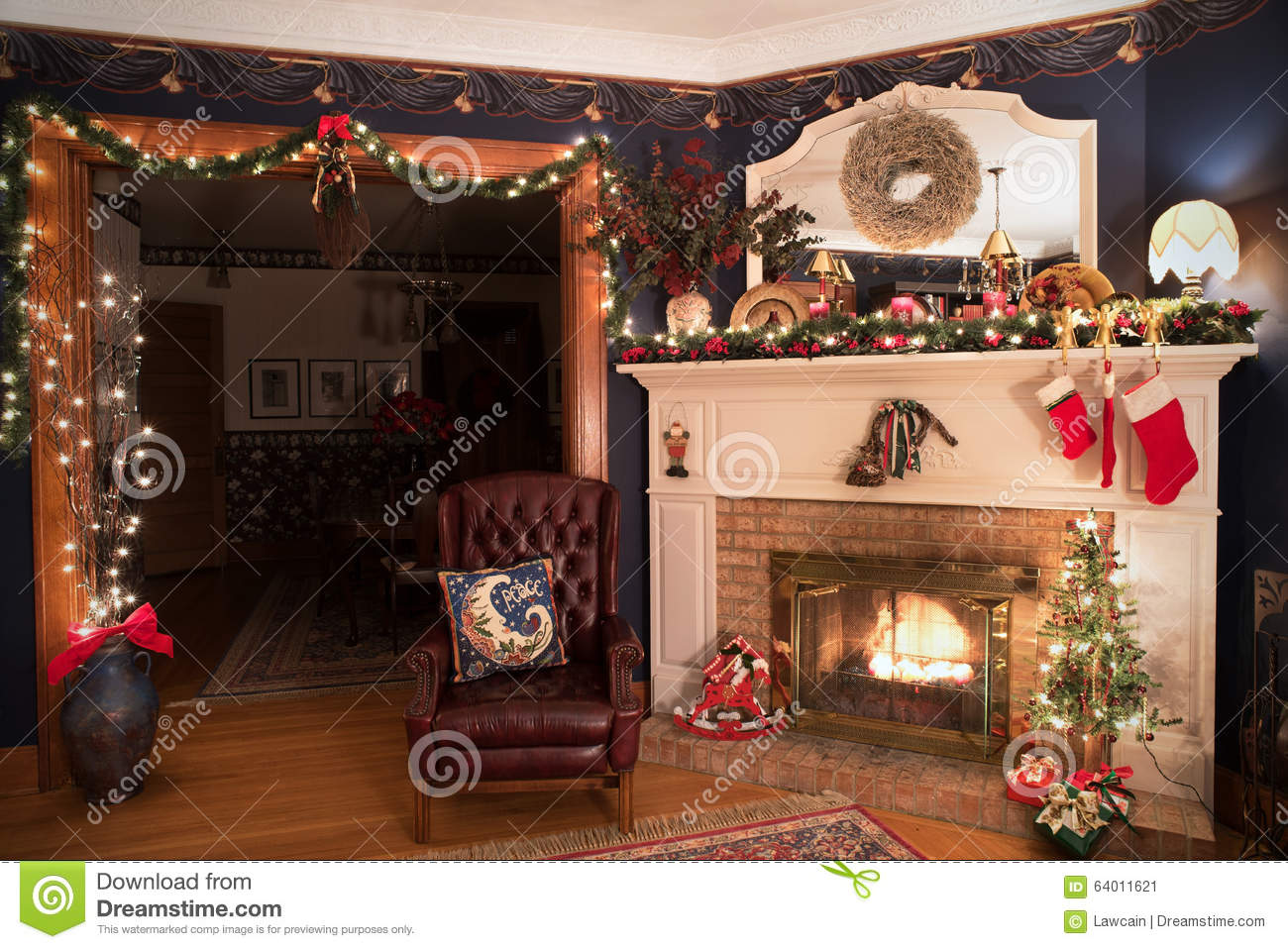 Victorian Christmas Living Room Stock Image - Image of ...