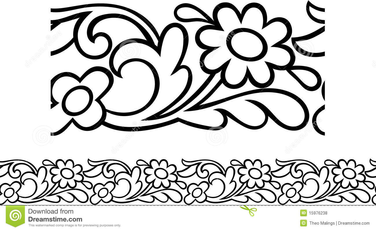Victorian Daisy Border stock vector
