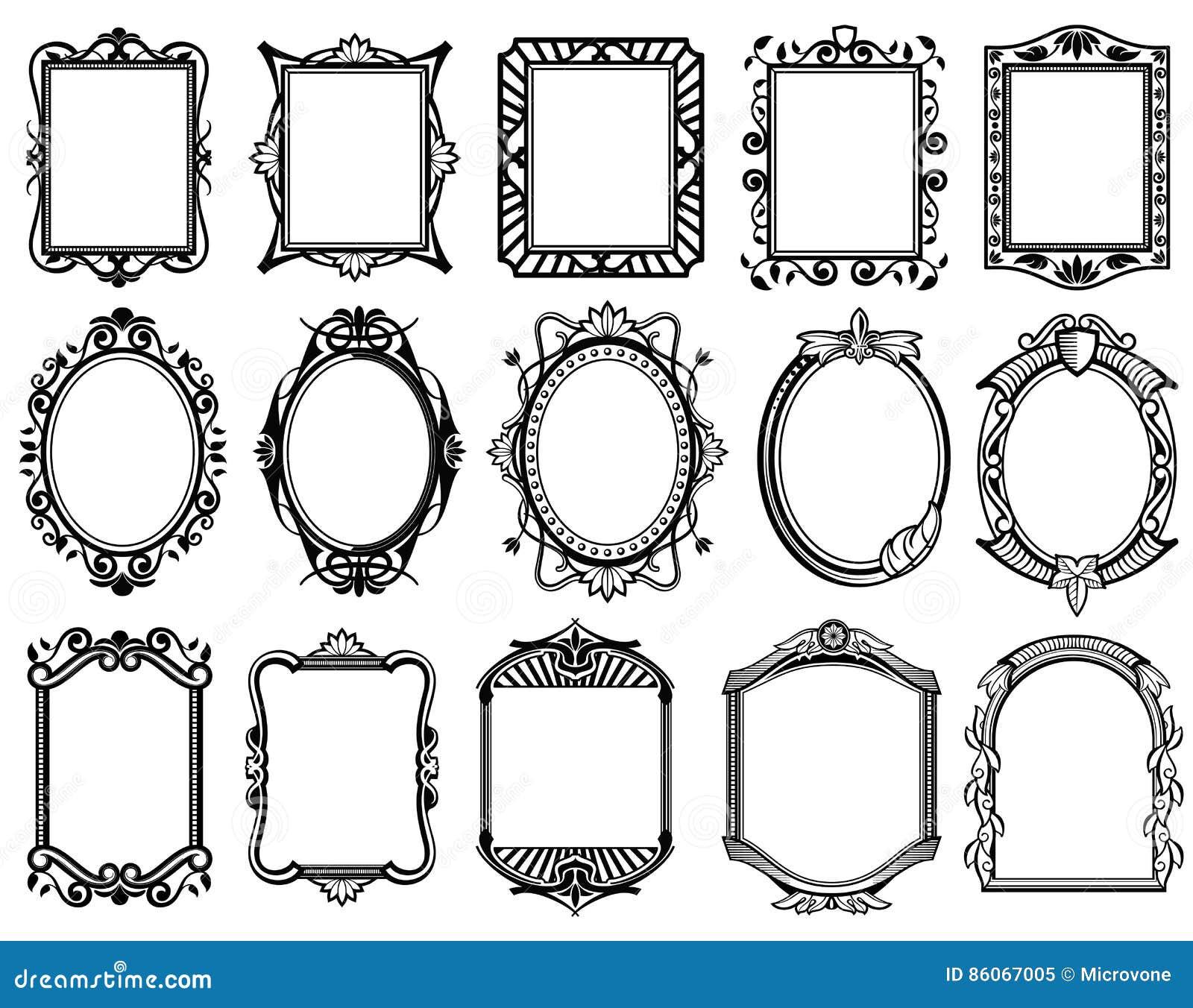 victorian de vintage le baroque cadre rococo pour le miroir menu collection de vecteur de. Black Bedroom Furniture Sets. Home Design Ideas