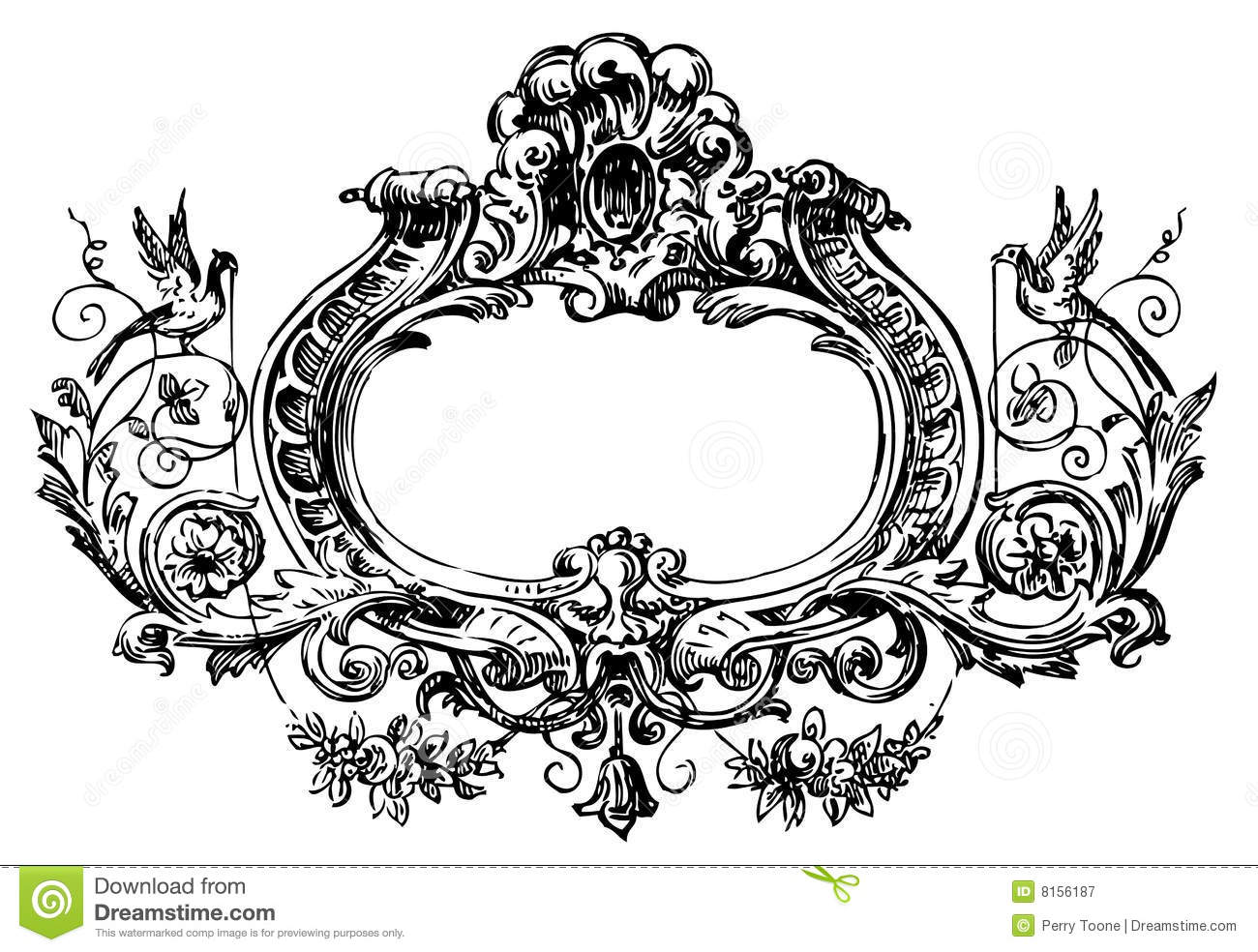 Victorian Floral Frame Stock Illustration Of Stem