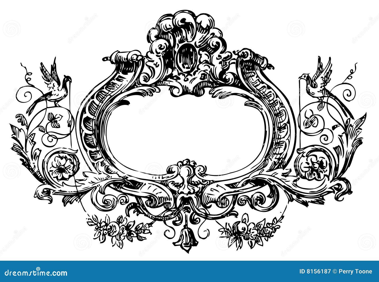 Victorian Floral Frame Stock Illustration Illustration Of