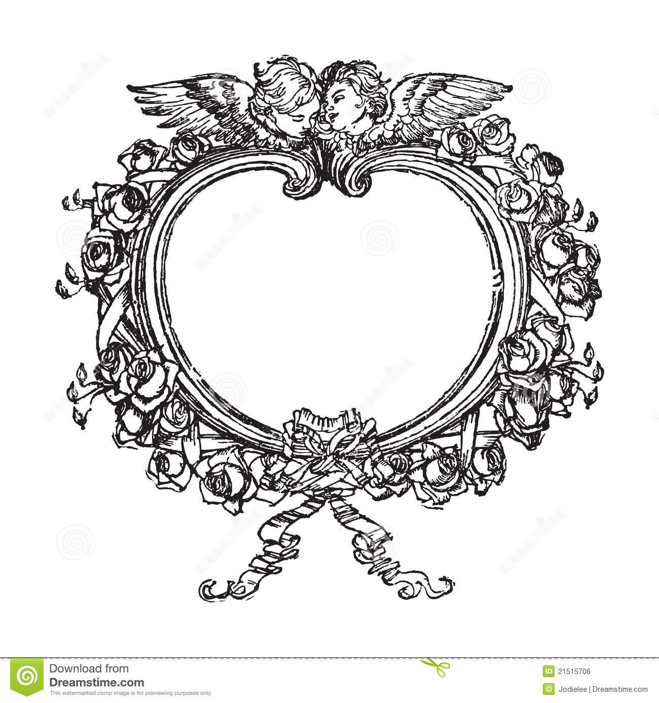 Victorian Floral Frame With Angels Illustration Royalty
