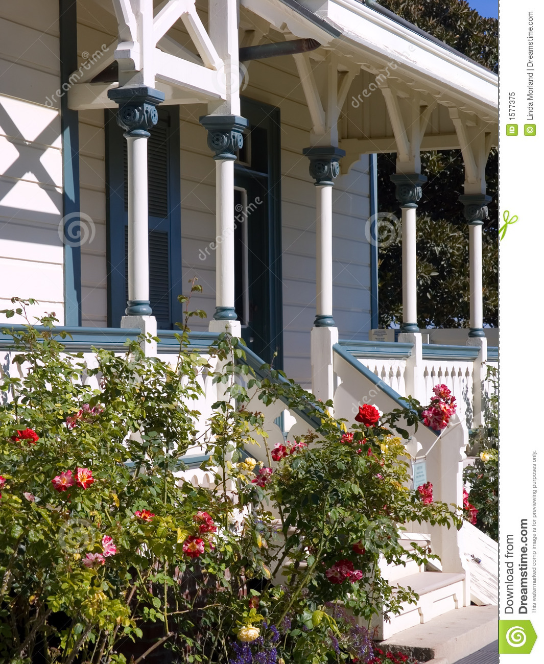 Front Porch Of Yellow House Stock Photo: Victorian Front Porch Stock Image. Image Of Flora, Home
