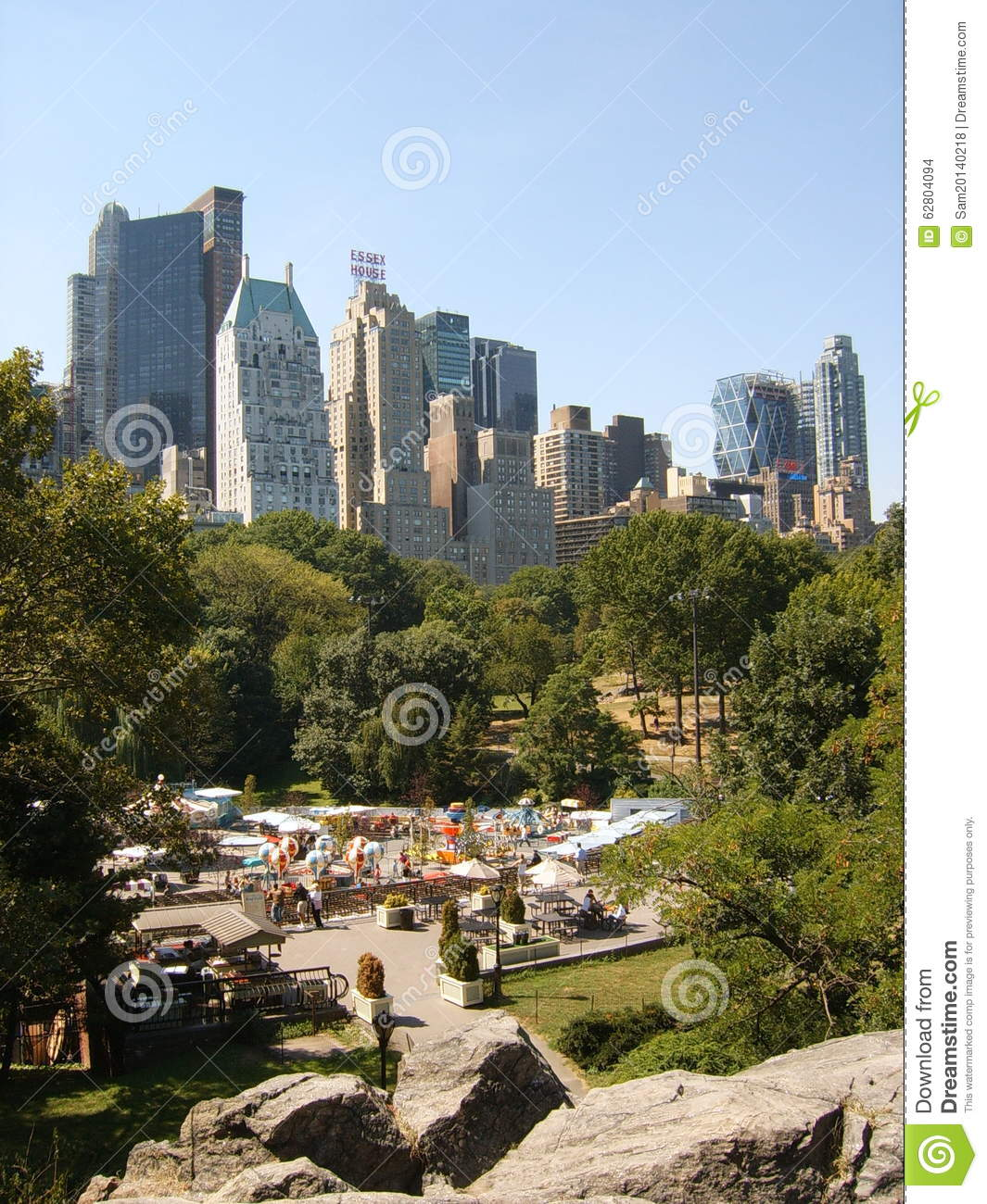 Victorian Gardens With The Skyscrapers Of Central Park South Editorial Stock Image Image 62804094