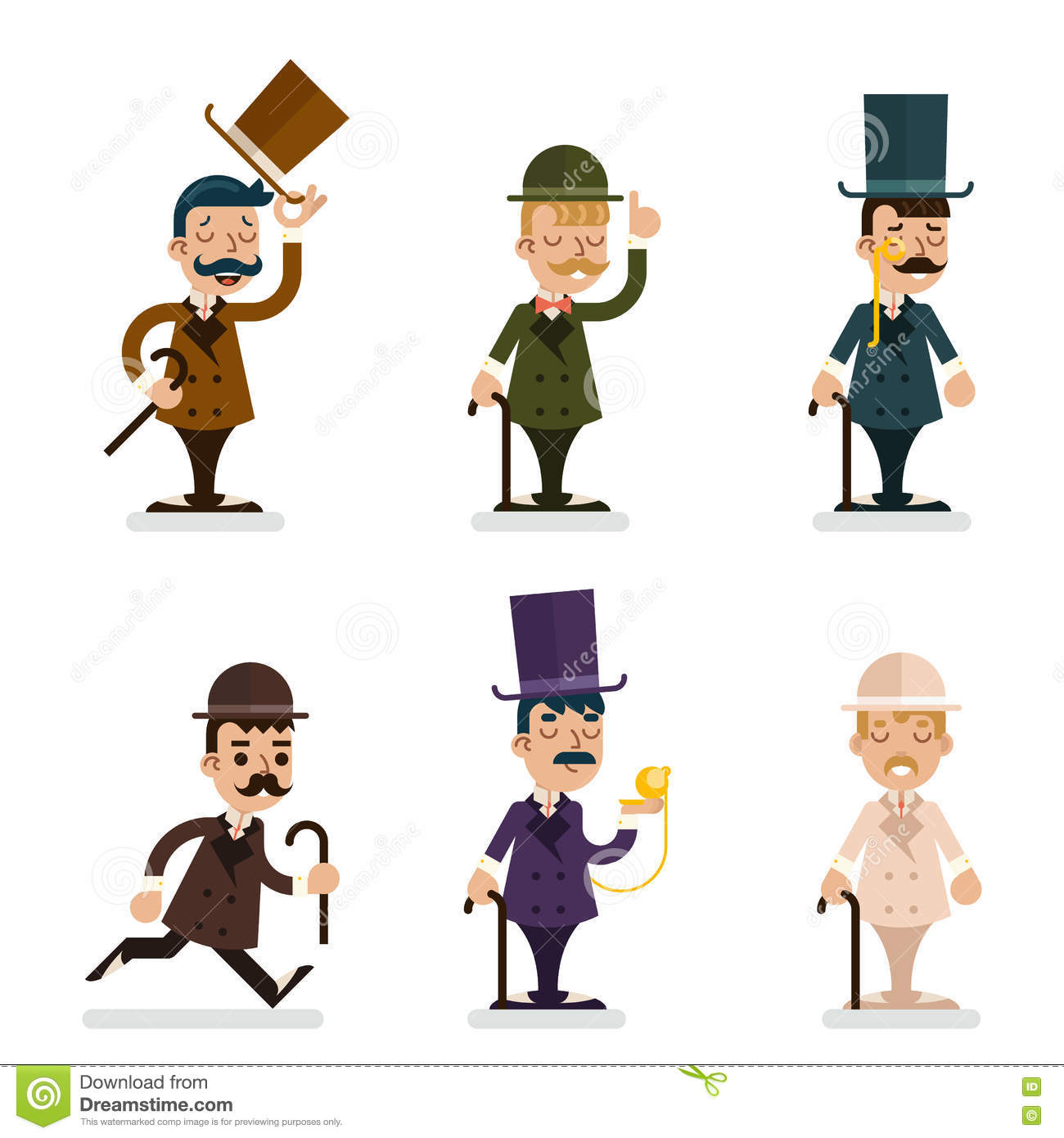 victorian gentleman characters icons set flat design vector illustration stock vector image. Black Bedroom Furniture Sets. Home Design Ideas