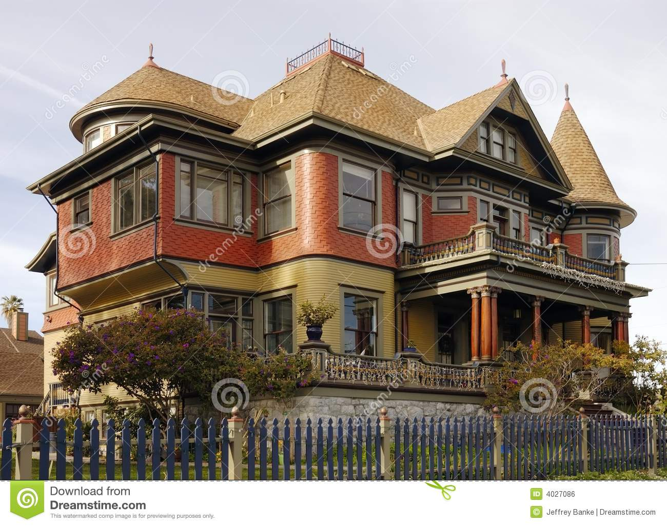 Victorian gingerbread house stock photo image of bushes for Victorian gingerbread house plans