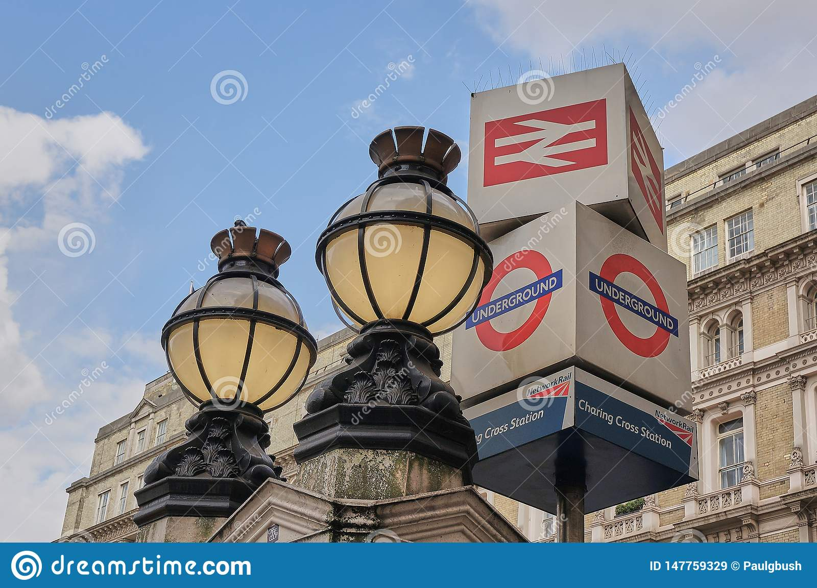 Victorian Globe Lights and Underground Sign outside Charing Cross Train Station London