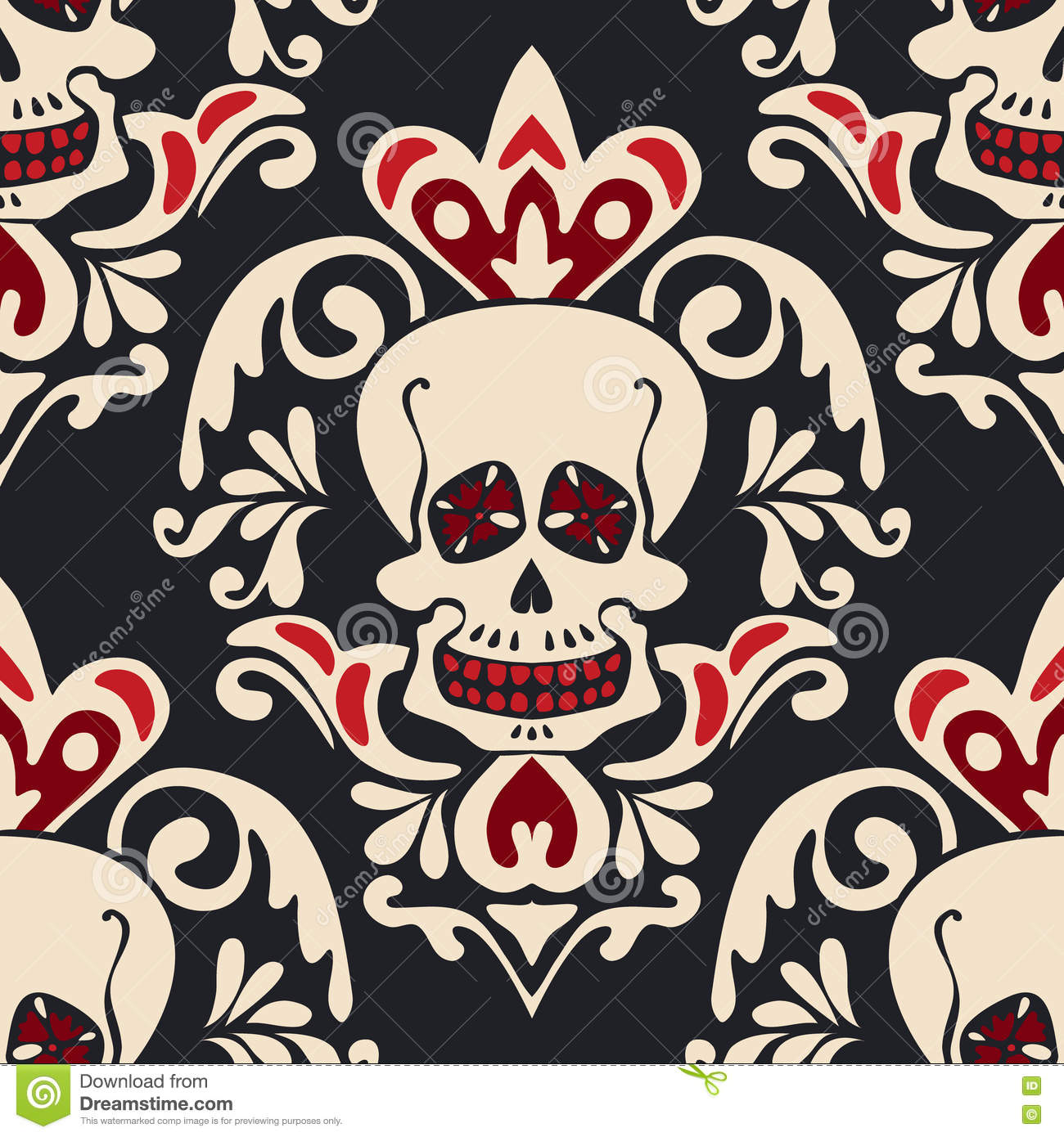 Download Victorian Gothic Skull Vector Damask Pattern Stock